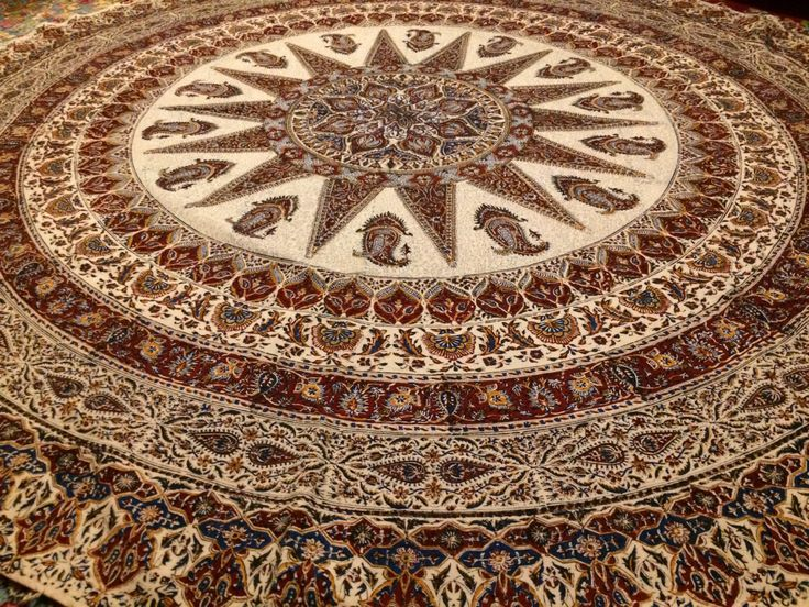 """Calico fabric with Natural dyes  round table-cloth 82"""" inches with tassels"""