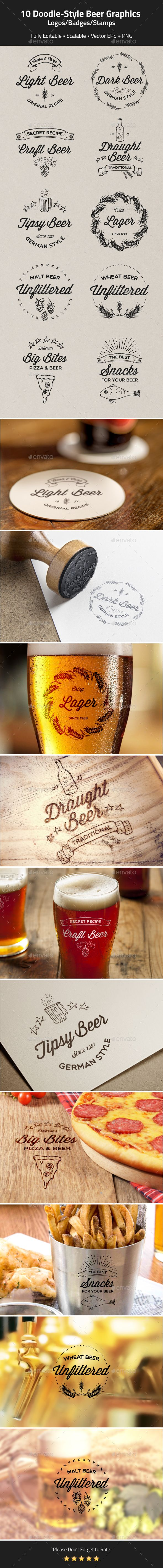 10 Doodle-Style Beer logos, badges, stamps FEATURESScalable vector EPS CS4 Scalable vector EPS CC Individual transparent PNG files
