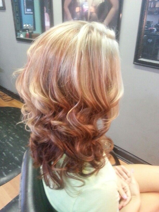 Cute Medium Layered Haircut With Curls With Blonde Highlights And Red Lowlights Hair Color For