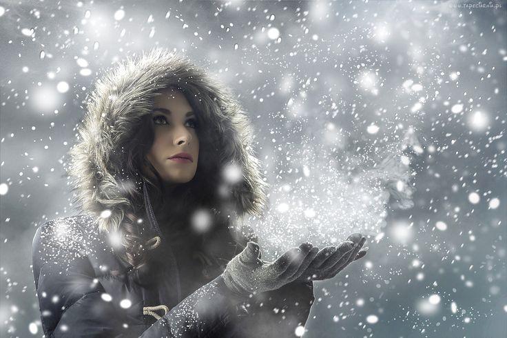 Edycja Tapety: Kobieta, Zimowe, Płatki, Śniegu, Dłonie