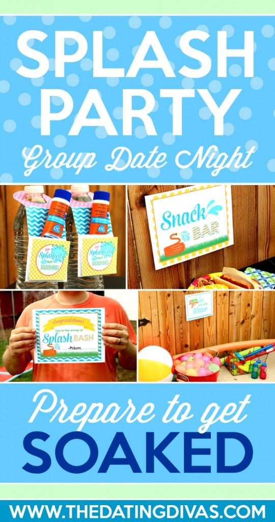 Splash Party Group Date Night. Fun printables and ideas for your summer party.
