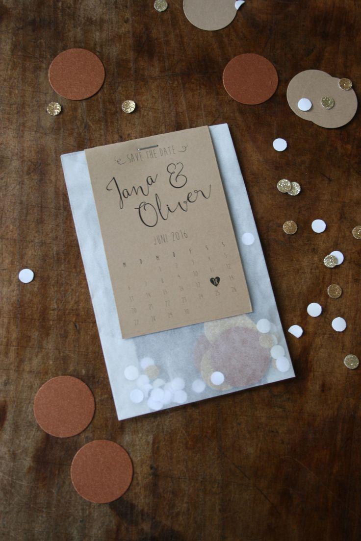 Einladung Mit Kraftpapier, Transparenter Tüte Und Gold Konfetti