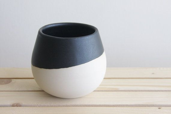 Ceramic planter in white with black matte glaze. by ONEandMANY