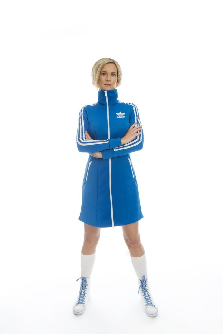 Artist Frøy Aagre sporting an awesome blue Adidas Originals clubbing dress