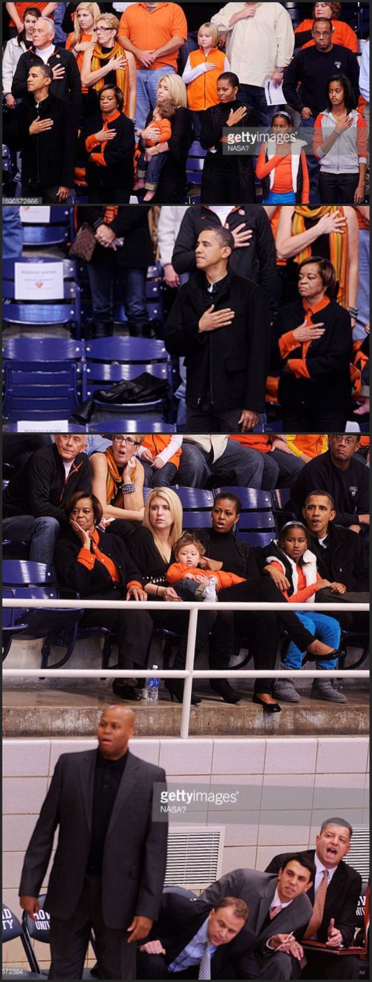 #44thPresident #BarackObama #FirstLady #MichelleObama & Their #Daughters #MaliaObama #SashaObama with his mother in law #MarianRobinson during a college basketball game at Howard University November 27, 2010 in Washington, DC. President Barack Obama attended the game between Howard University and Oregon State, which is #coached by his brother in law #CraigRobinson #ObamaFamily #ObamaLegacy #ObamaHistory #ObamaLibrary #ObamaFoundation Obama.Org