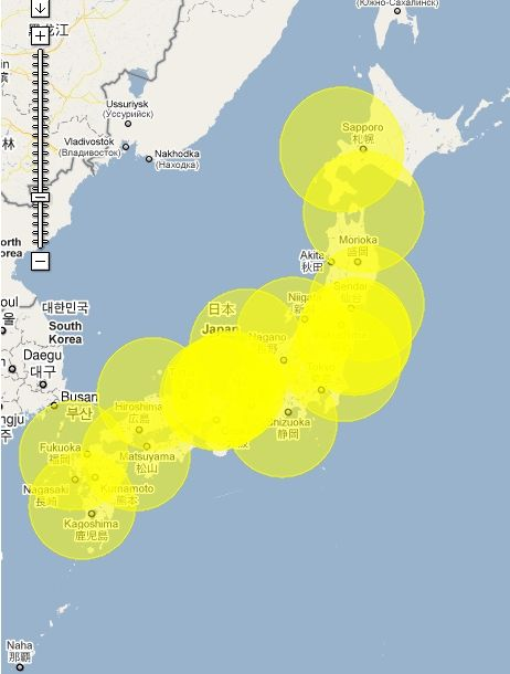 NuclearPowerPlant map in Japan. 200km 原子力発電所からの距離