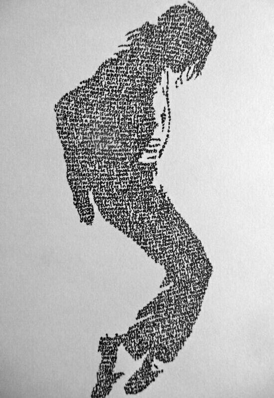Figura Michael Jackson con letras de canciones.