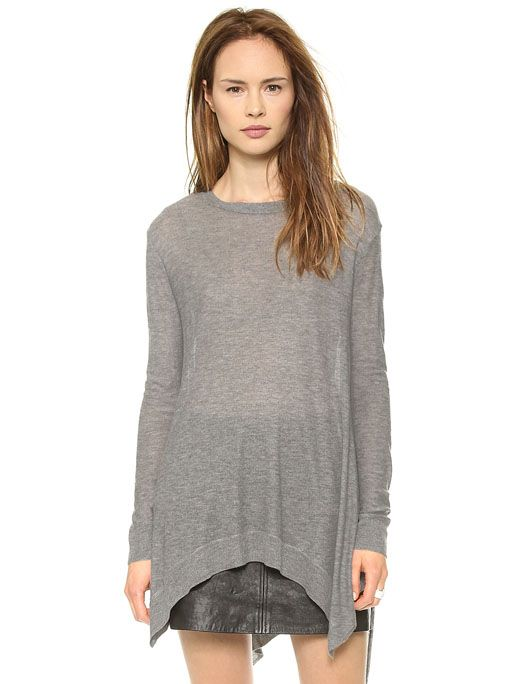 Grey Long Sleeve Asymmetrical Knit Sweater 23.90   For Ash