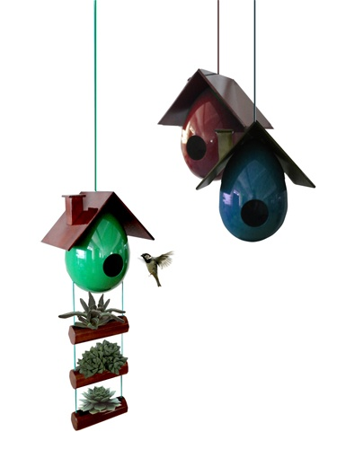 Coque by Barbato is an artificial bird house made with recycled wood.