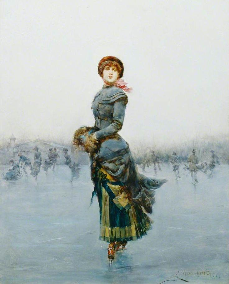 Ludovico Marchetti (1853-1909) — Lady Skating on Ice (764x944)