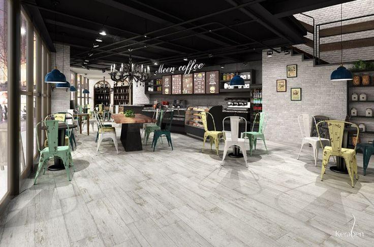 #Novedad en #interiorismo y #diseño #cerámico. Conoce Village de #Keraben, una colección de #MaderaCerámica #cerámica #madera #local #restaurante #tiles #fliesen #ceramic