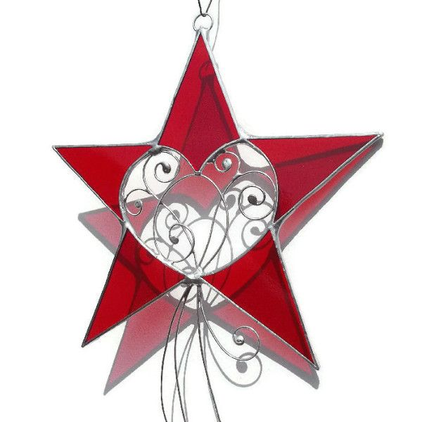 Red Stained Glass Star Suncatcher - £20.00