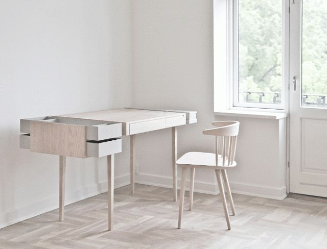 In my search for the perfect home office desk, I came across The Private Desk designed by Theresa Arns. Theresa is an architect and furniture designer based in Copenhagen. The desk is made of white oiled ash wood and grey powder coated steel. It has a central working area containing a drawer for your laptop, …