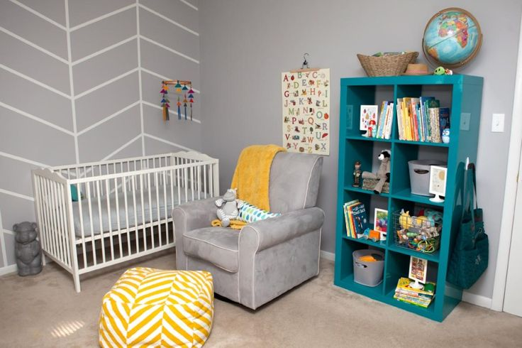 Gray, yellow and turquoise nursery - love the herringbone accent wall!