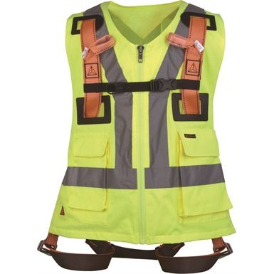 The DeltaPlus HAR12GILJA Safety Harness with Hi Vis Vest has been designed to be used as part of a full body fall arrest system. The harness conforms to EN 361, whilst the hi-vis vest conforms to EN 471 class 1.