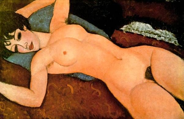 Обнаженная женщина на подушке. Картины итальянского художника Амедео Модильяни