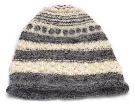abf30c7c4c9 Hand knitted grey and white wool hat