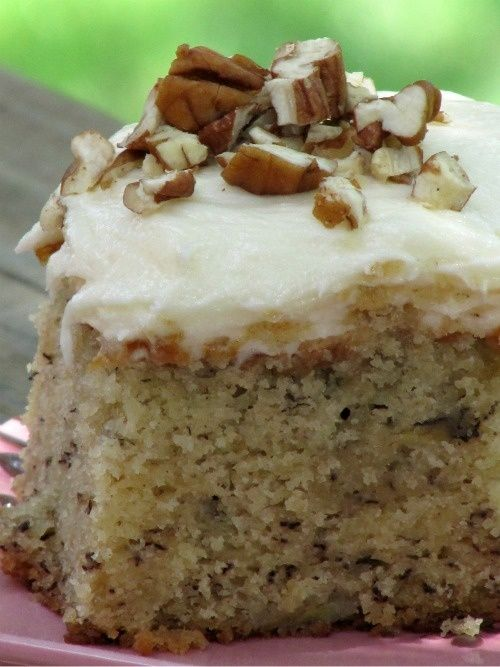 Best Ever Banana Cake with Cream Cheese Frosting    2 cups bananas , mashed  2 t