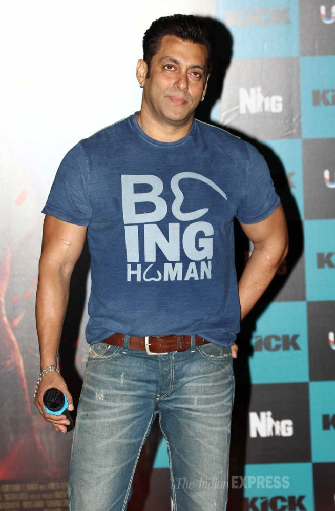 Salman Khan Kept It Simple In A Blue Being Human T Shirt At The Launch Of Music Album His Film Kick
