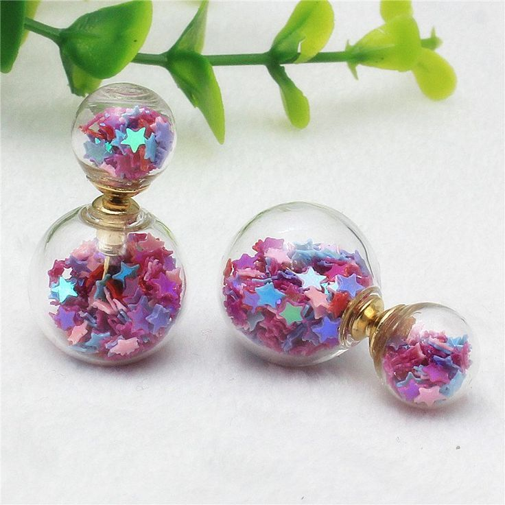 2016 new Design double imitation pearl Starry temperament small fresh retro fashion sequins high-grade glass earrings for girls