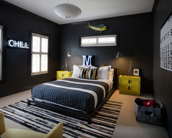Some Pictures of Awesome Childrens Bedroom Decor Ideas : Modern Childrens Bedroom Decor Ideas With Black Wall White Windows Frames Table Lamps Yellow Bedside Table Strips Rug Hanging Lighting For Boys Bedroom In Dark Color