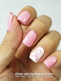 Rosa Band-Nagelkunst für Brustkrebs-Bewusstseins-Monat   – Nail art