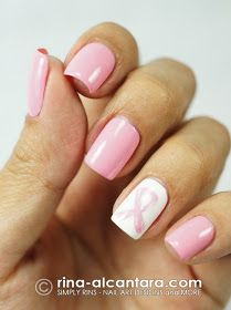Pink Ribbon Nail Art for Breast Cancer Awareness Month