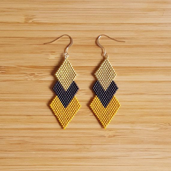 Earrings Gold Plated 14K Gold Filled and Glass Beads Miyuki, handmade  24 carat gold plated beads  Length: 7 cm