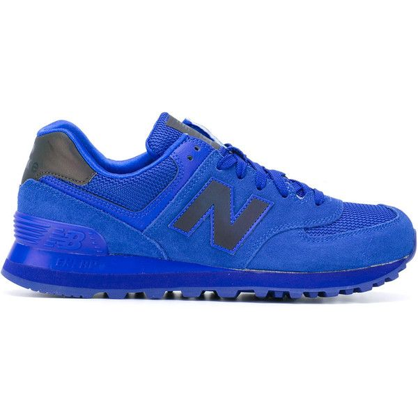 New Balance 574 Classic sneakers (251.675 COP) ❤ liked on Polyvore featuring shoes, sneakers, blue, blue sneakers, new balance footwear, leather shoes, new balance shoes and real leather shoes