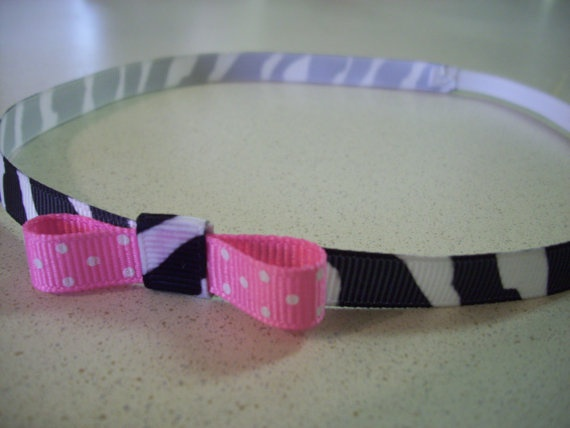 $2 #zebra, #pink, #polkadot, #etsyfollow, #headband, #accessories, @Precious Bowtique: Teen