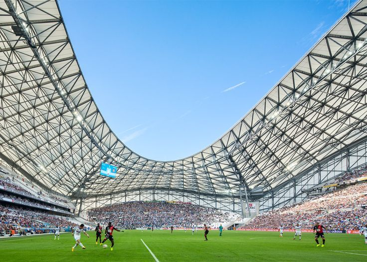 French firm SCAU designed the undulating fibreglass roof of Marseille's football stadium, which is set to host the UEFA Euro 2016 semi-final between France and Germany this Thursday.