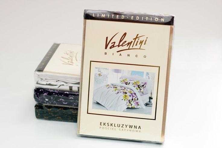 Pościel satynowa Valentini Bianco Limited Edition w opakowaniu.