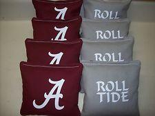 Alabama Crimson Tide Bama Roll Tide 8 Custom Cornhole Bags FREE BLACK TOTE w/w