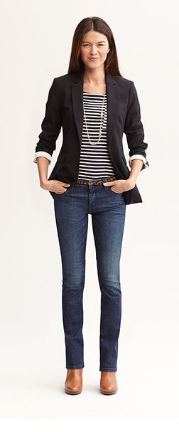 I like this classic look and don't mind a staple blazer so I want a versatile style....