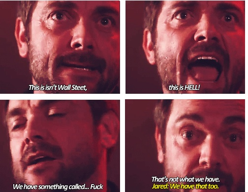 "[SET OF GIFS] Gag Reel - ""We have that too."" Mark Sheppard, Jared Padalecki - Supernatural Funny - Crowley and Sam Winchester"