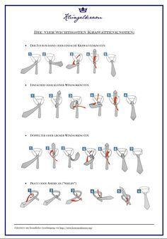 Krawatte binden - die vier wichtigsten Knoten für Ihren Schlips. | Klüngelkram