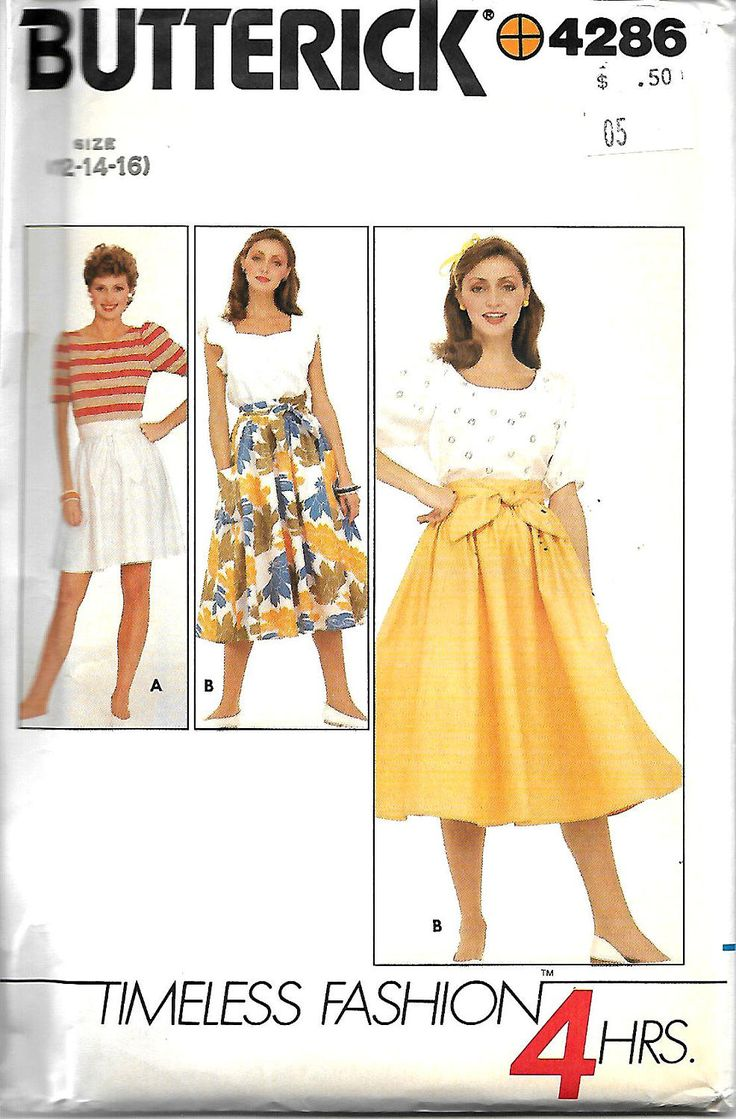 Butterick 4286 4 Hour Pattern, Misses Flared Back Wrap Skirt Pattern, Size 12-14-16, UNCUT by DawnsDesignBoutique on Etsy