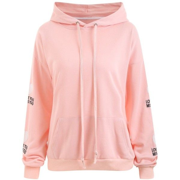 Plus Size Heart Patches Sleeve  Love You Kangaroo Hoodie ($30) ❤ liked on Polyvore featuring tops, hoodies, rosegal, pink hooded sweatshirt, plus size pink hoodie, sweatshirt hoodies, pink hoodie and plus size hoodie
