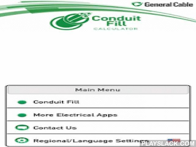 General Cable Conduit Fill  Android App - playslack.com ,  General Cable's Conduit Fill calculator is a quick and easy tool to calculate the minimum conduit size per National Electrical Code. It is designed for engineers, contractors, and other electrical professionals to find quick answers without spending hours on lengthy calculations. All calculations are based on the NEC 2011 edition.Features:Allowable fill rates for combination of conductorsCalculates minimum conduit size for compact…