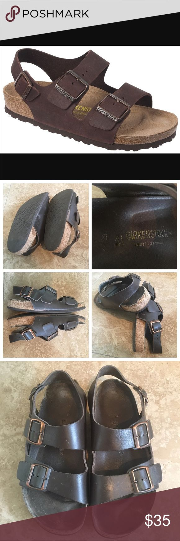 Birkenstock Milano Active people love the comfortable and durable Birkenstock Milano. The heel strap hugs the sandal to your foot, providing extra security. The contoured cork footbed provides arch support and the deep heel cup keeps your foot stable . EVA soles are lightweight, flexible, durable and provide cushioning with every step. They are replaceable if they wear out.  These have been worn but they have also been taken care of. There is signs of wear . Men's size 8 ladies size 11…