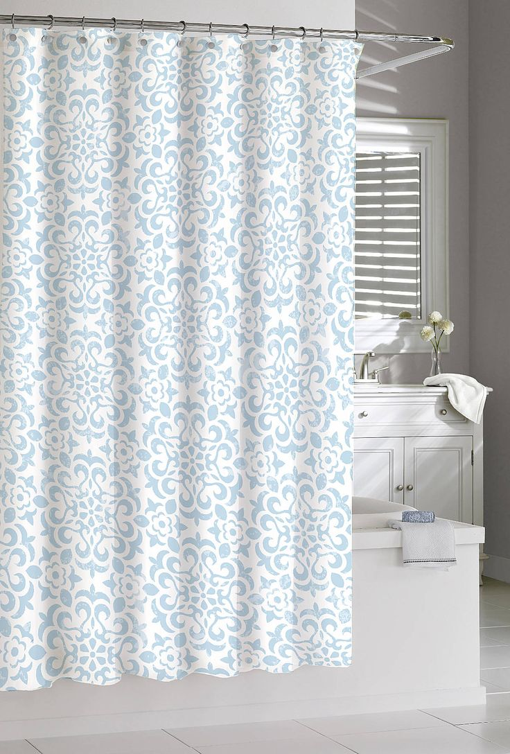 Diy painted shower curtain - 100 Cotton Sea Wave Shower Curtain In Spa Blue