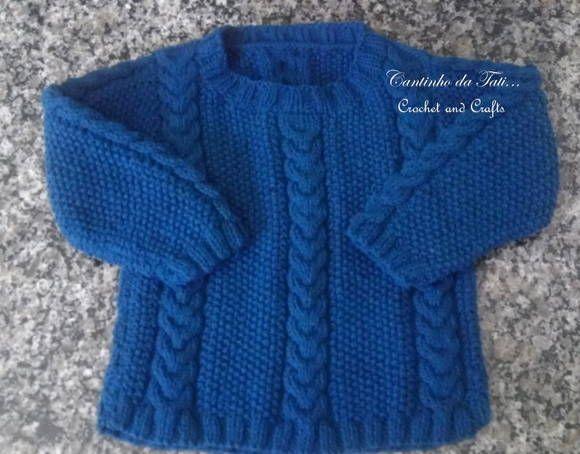 Blusa de tricô feito à mão com linha de excelente qualidade. Faço na cor desejada pelo cliente. Tamanho 2 anos R$ 65,00