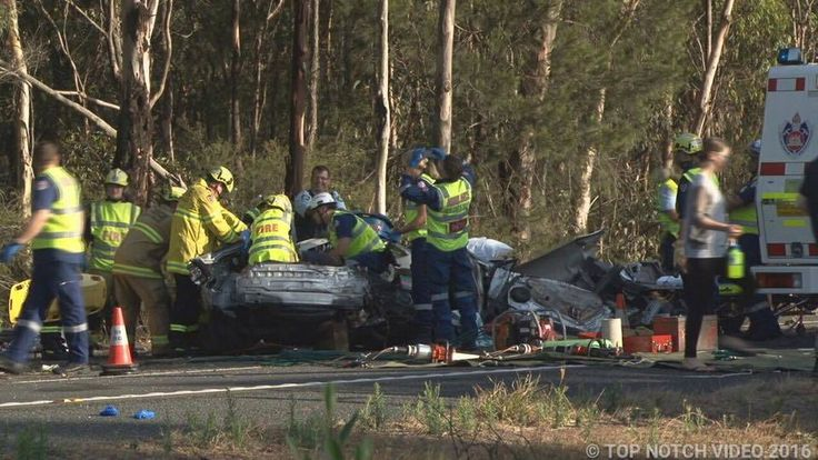 The scene of Monday morning's accident on the Hume Motorway at Pheasants Nest. The single-vehicle crash happened about 5km south of Picton Road. Picture: Picture: Top Notch Video
