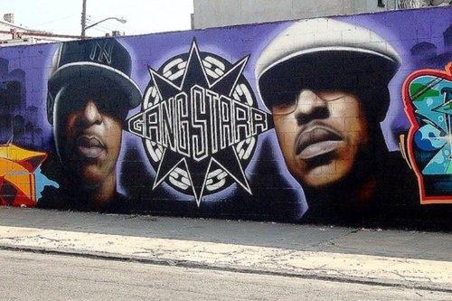 Rapper street murals guru tats graffiti arts for Nas mural queens
