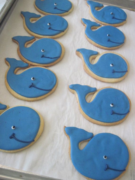 Whale Cookies 1 dozen by StorybookBakery on Etsy, $25.00