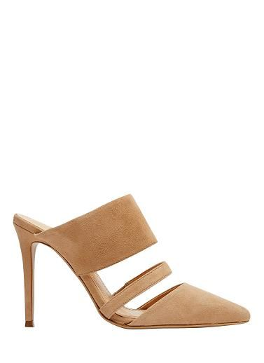 Leather double strap pointed mule. Heel height 11cm. Leather upper with manmade lining and sole.