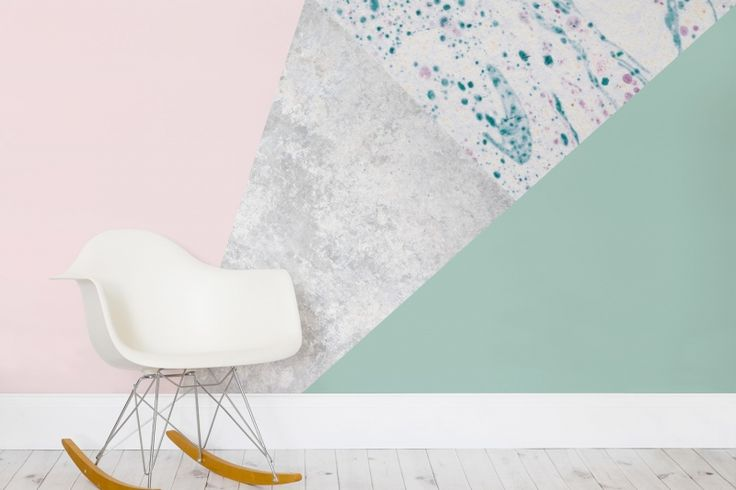 Pink and Green Geometric Wall Mural