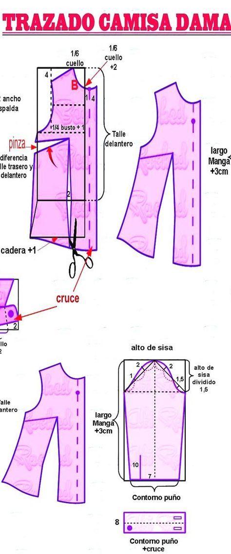 camisa #patrones #moldes #curso   Blusas   Pinterest   Sewing ...