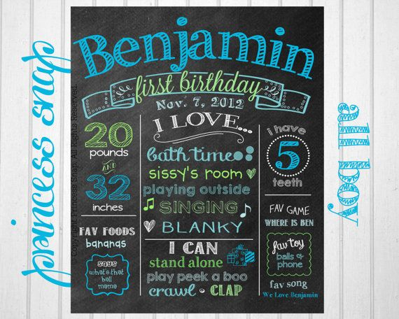 Boy First Birthday Chalkboard Poster  Blue and di PrincessSnap