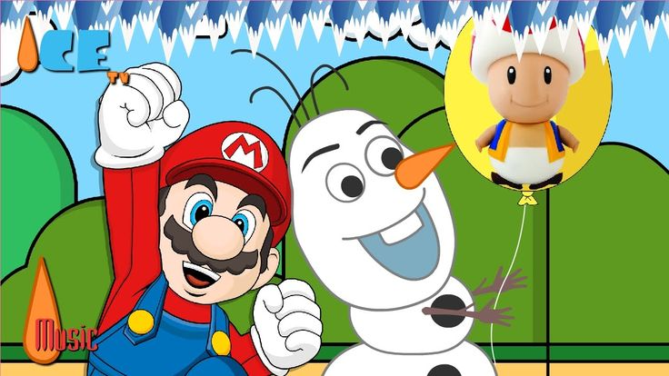 Frozen Olaf with Super Mario The Balloon Noses Finger Family Nursery Rhy...